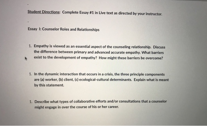 student directions complete essay in live text com student directions complete essay 1 in live text as directed by your instructor