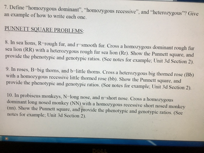 "Solved: 7. Define ""homozygous Dominant"", ""homozygous Reces ..."