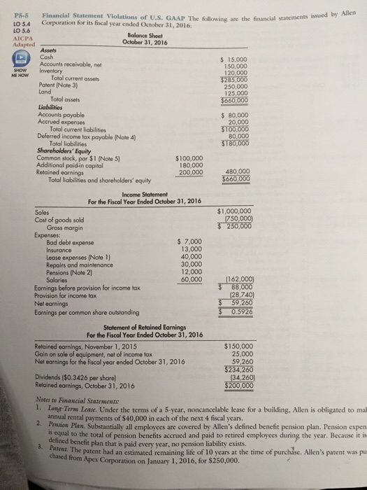Issued By Allen Ps.S Financial Statement Violation  | Chegg.Com