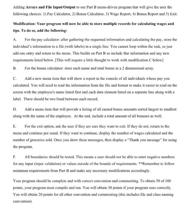 ntolviahoe - Menu driven program in java using bufferedreader
