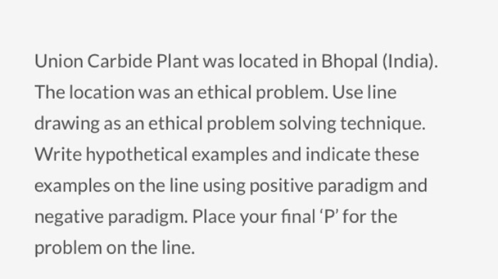 Line Drawing Ethics : Solved union carbide plant was located in bhopal india