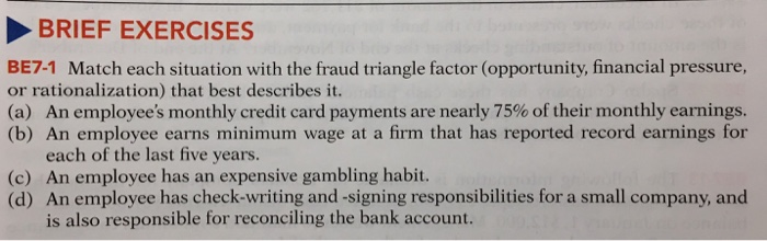 BRIEF EXERCISES BE7-1 Match each situation with the fraud triangle factor (opportunity,