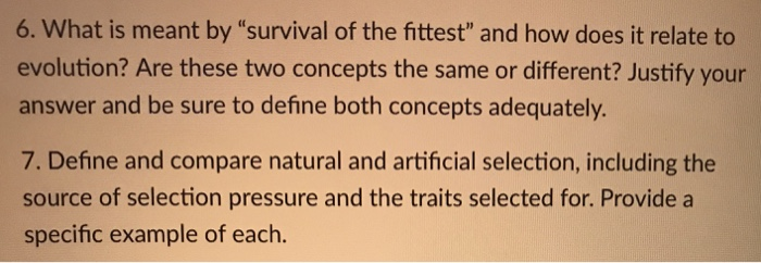Compare Natural Selection And Survival Of The Fittest