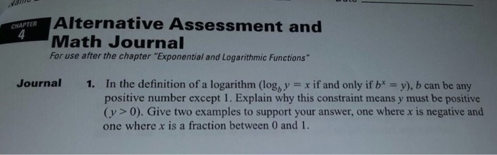 In the definition of a logarithm logb y x if a chegg alternative assessment and chapter math journal for use after the chapter exponential and logarithmic functions journal sciox Image collections