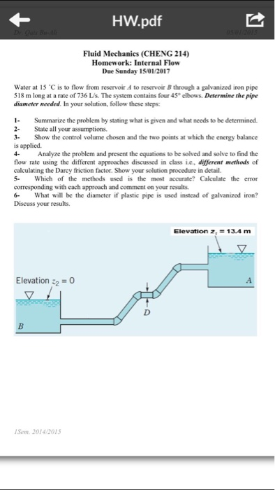 Fluid mechanics homework help