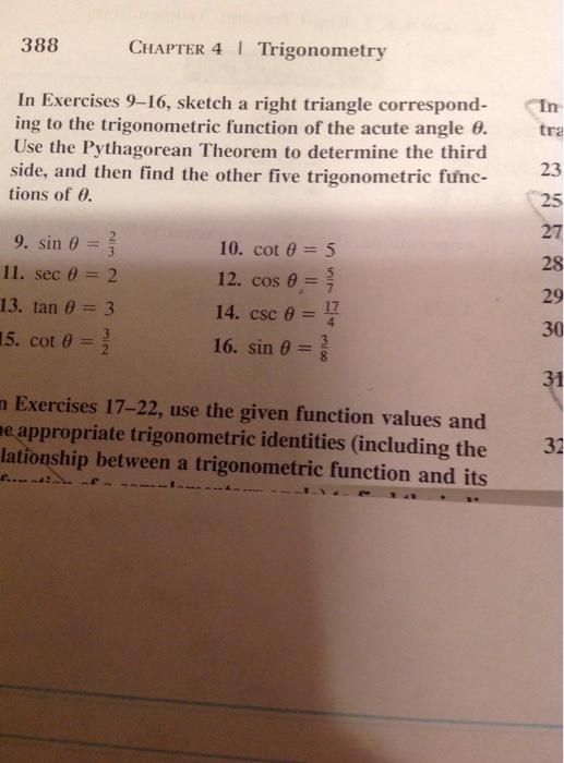 Solved: Sketch A Right Triangle Corresponding To The Trigo ...