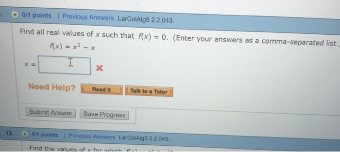 Algebra archive march 26 2018 chegg 01 points previous answers larcolalg9 22043 find all real values of fandeluxe Gallery