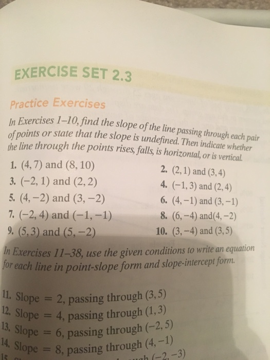 Find the slope of the line passing through each pa chegg exercise set 23 practice exercises in exercises 1 10 the slope of the line ccuart Images