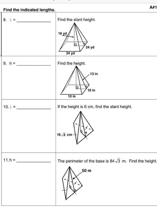 how to get the slant height of a square pyramid