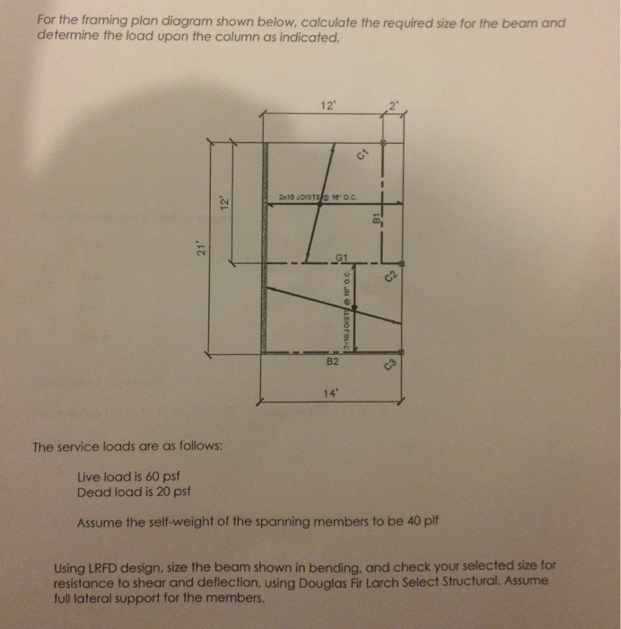 Solved: For The Framing Plan Diagram Shown Below, Calculat ...