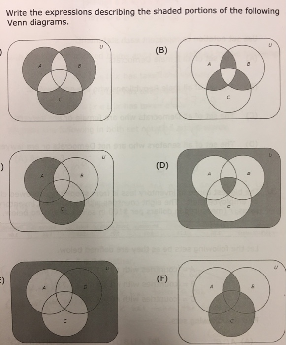 Solved write the expressions describing the shaded portio question write the expressions describing the shaded portions of the following venn diagrams ccuart Choice Image