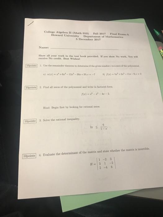 On To College Show 010 13 2017 >> Solved: College Algebra II (Math 010) Fall 2017 Final Exam... | Chegg.com