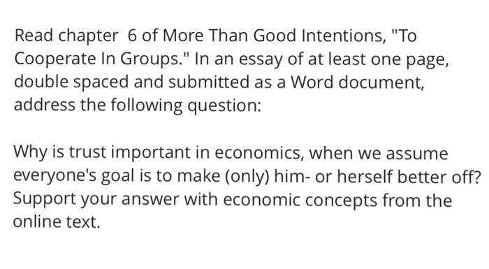 Essay on good intentions