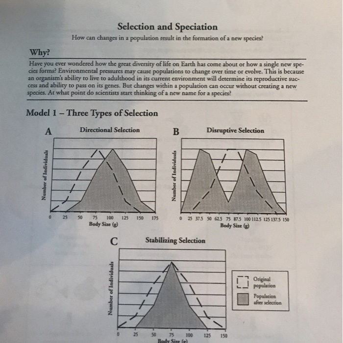 Solved Selection And Speciation How Can Changes In A Popu