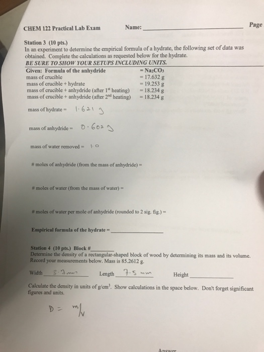 lab determining the empirical formula of View notes - lab rpt 4: determining empirical formulas from chm 222 at norfolk 1 abstract: the purpose of this experiment was to determine the empirical formula of a compound that contains only.