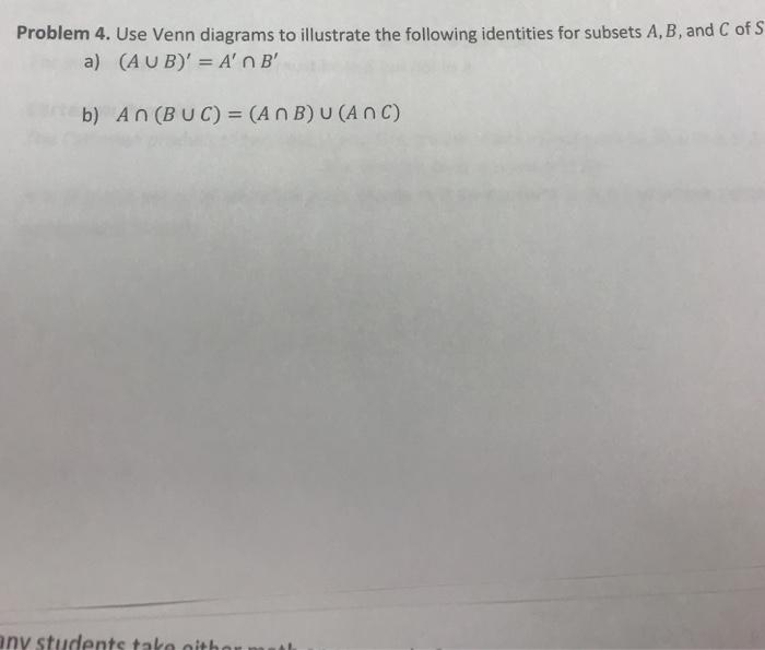 Solved Problem 4 Use Venn Diagrams To Illustrate The Fol