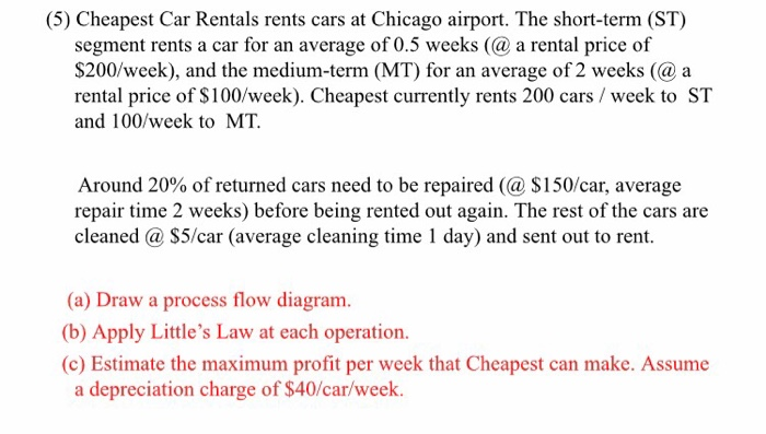 Little S Law Car Rental Problem