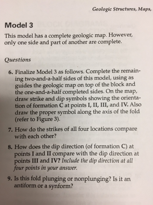 Geologic Structures Maps Model 3 This Model Has Chegg