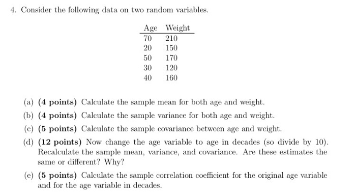 Consider The Following Data On Two Random Variable   CheggCom