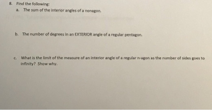 The Sum Of The Interior Angles Of A Nonagon