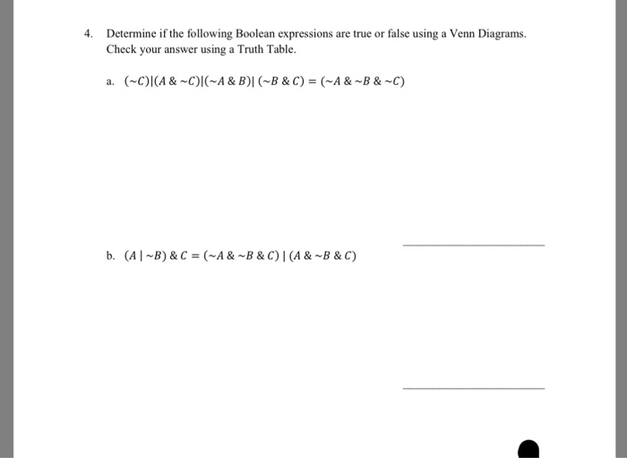 Determine if the following boolean expressions are chegg determine if the following boolean expressions are true or false using a venn diagrams check ccuart Choice Image