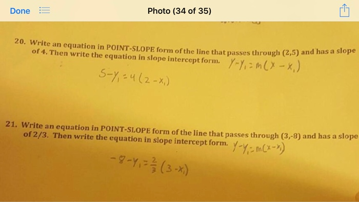 Write An Equation In Point Slope Form Of The Line Chegg