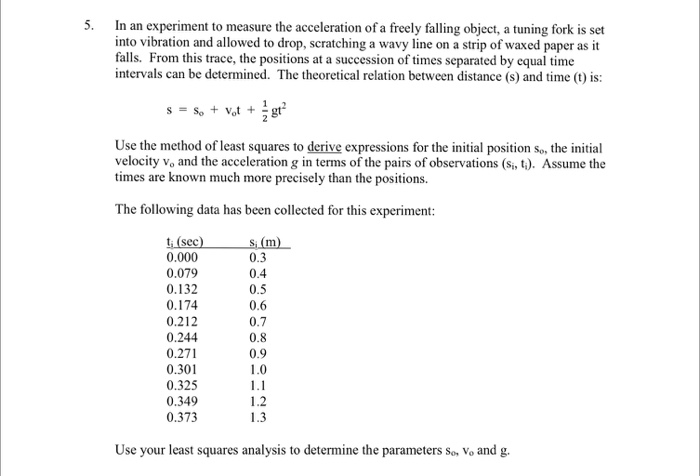 an analysis of experiments and theories in measuring acceleration Page 1 experiment: analysis of a freely falling body  linearly with  time and calculate a value for g, the acceleration  theory.