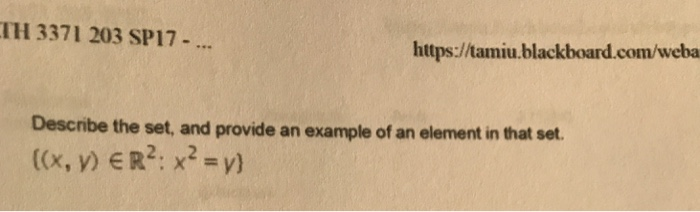 Solved Describe The Set And Provide An Example Of An Ele