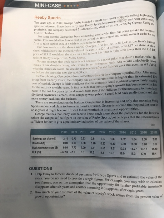reeby sports case Reeby sports mini case pg 99-100 from principles of corporate finance 10th ed - answered by a verified tutor.