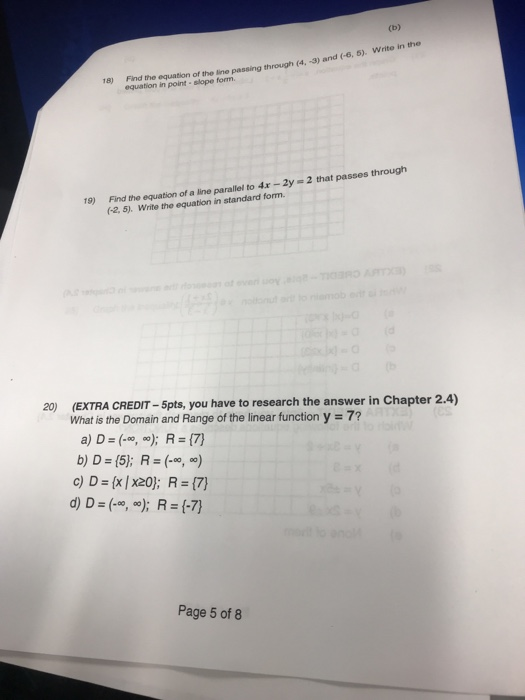 Solved Nd 6 5 Write In The Find The Equation Of The