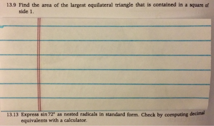 Solved Find The Area Of The Largest Equilateral Triangle