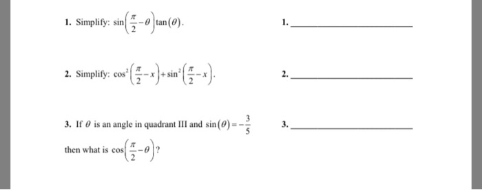 Evaluating Sine Cosine And Tangent Of Pi2: Solved: Simplify: Sin (pi/2