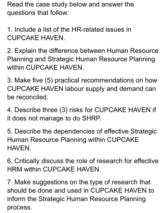 hr case study questions and answers