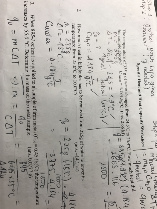 The Temperature Of 335 G Of Water Changed From 24 – Specific Heat and Heat Capacity Worksheet