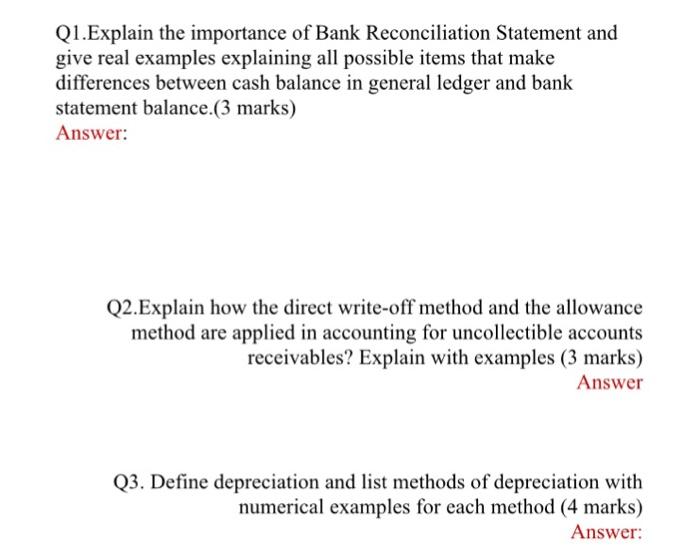 bank reconciliation examples