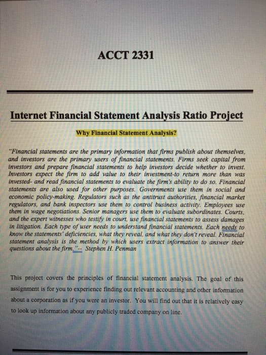 Acct  Internet Financial Statement Analysis Ra   CheggCom