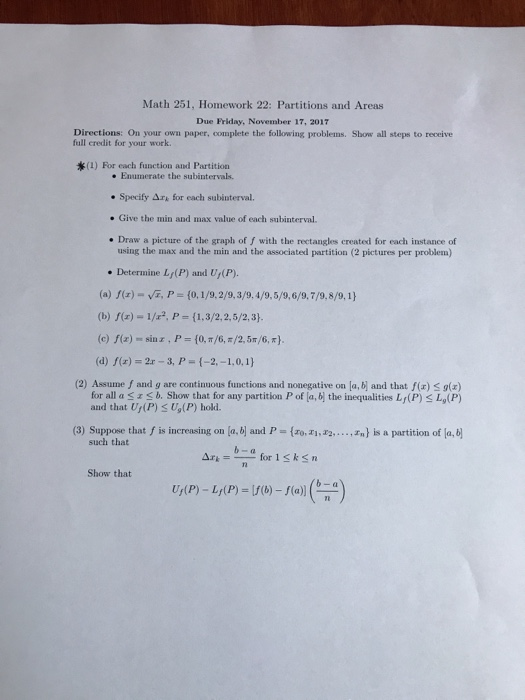 Solved: Math 251, Homework 22: Partitions And Areas Due Fr ...
