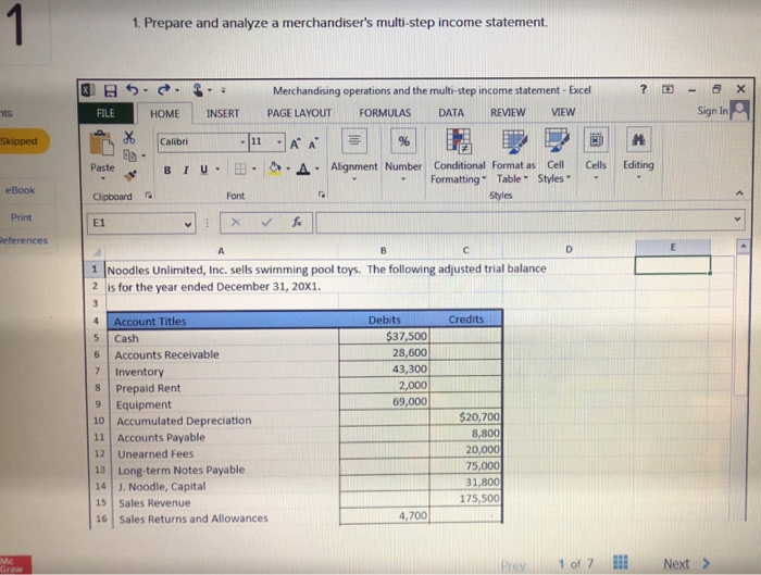 prepare and analyze a merchandisers multi step income statement merchandising operations and the