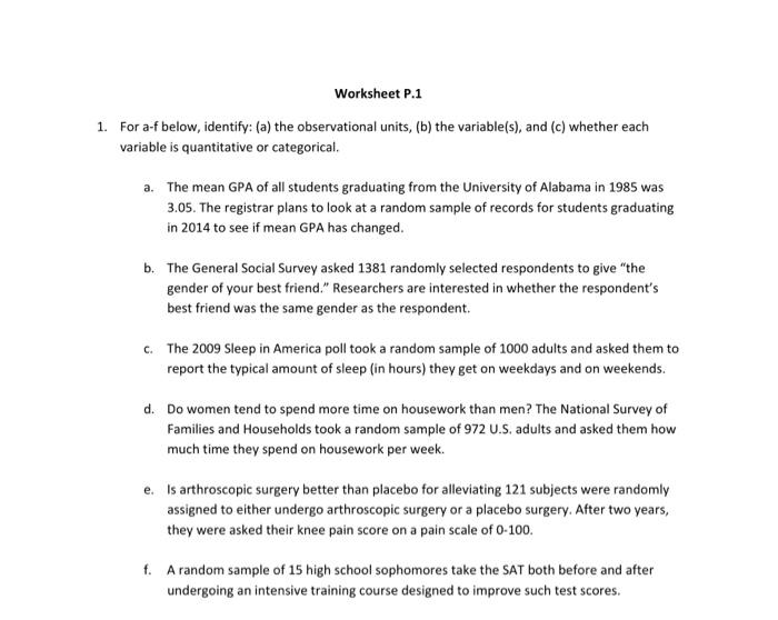 Worksheet P1 For Af Below Identify a The Obs – Random Sampling Worksheet