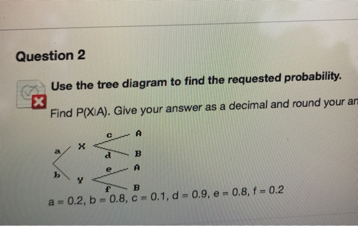 Solved use the tree diagram to find the requested probabi question 2 use the tree diagram to find the requested probability find pxia ccuart Choice Image
