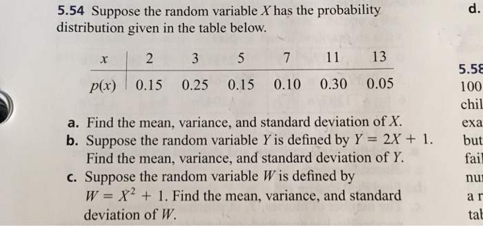 Suppose the random variable x has the probability chegg 554 suppose the random variable xhas the probability distribution given in the table below x ccuart Images
