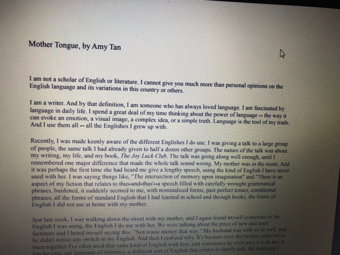 mother tongue by amy tan i am not a scholar of en chegg com mother tongue by amy tan i am not a scholar of english or literature