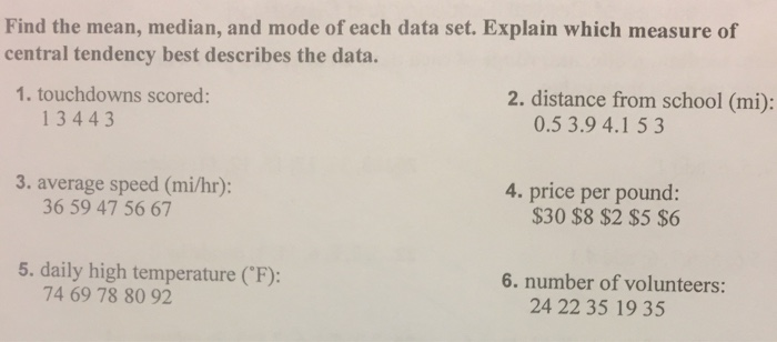 Algebra archive february 16 2017 chegg find the mean median and mode of each data set explain which measure fandeluxe Choice Image