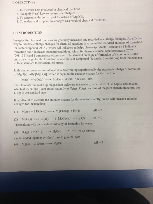 an experiment to determine the enthalpy of reaction of the reaction of solid sodium hydroxide and aq Enthalpy of hydration of sodium acetate goal to determine the enthalpy (δh) for the following process:  reaction to calculate δh reaction for anhydrous sodium .