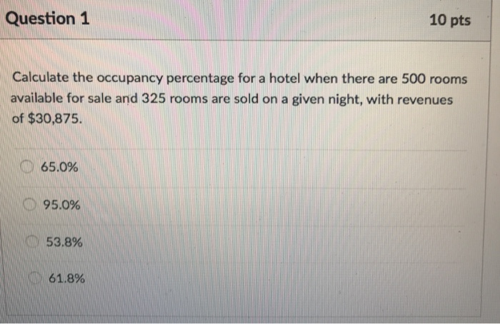 Calculate The Occupancy Percentage For A Hotel Whe
