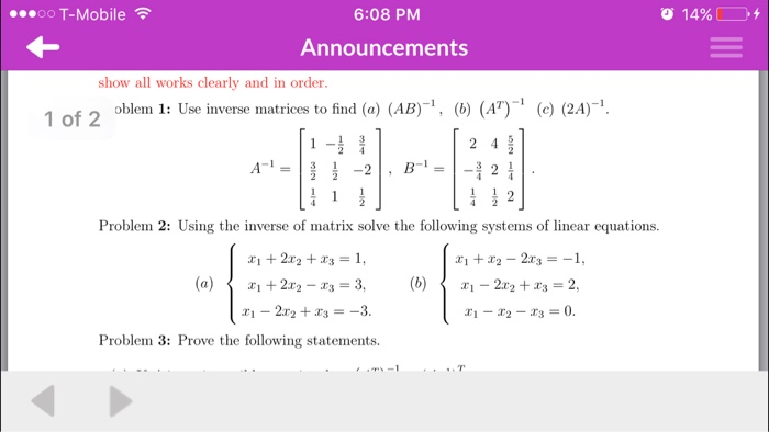 Solved: Use Inverse Matrices To Find (a) (AD)^-1, (b) (A^T ...