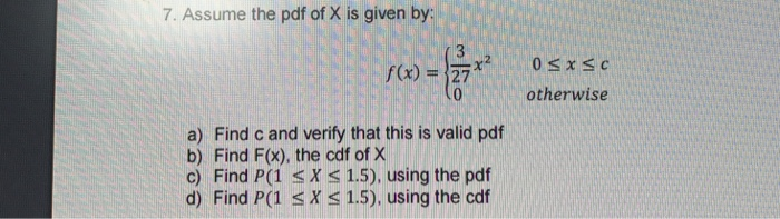 given pdf of x find pdf of x 3