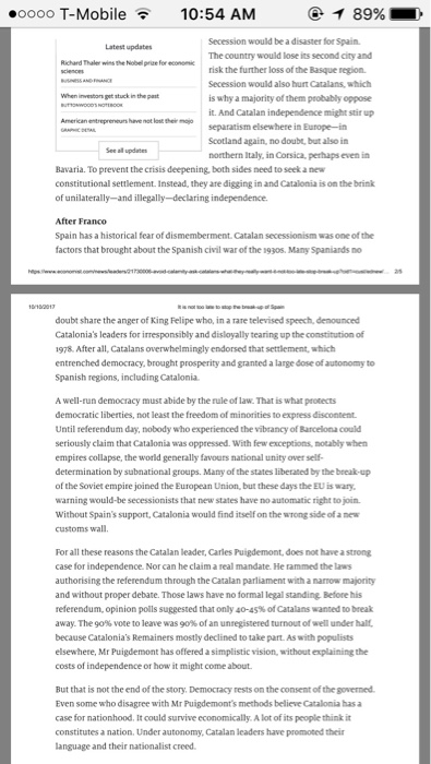 base on the article i want you to write an short com  short essay aboout how do you feel the separatism in catalonia should be resolved and why should the government crush it bow down to it or negotiate