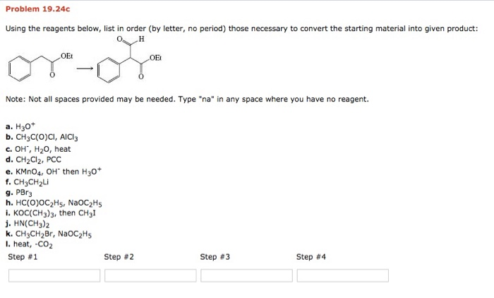 Problem 1924c Using The Reagents Below List In Order By Letter No