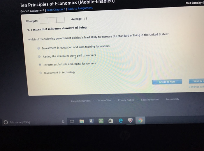 assignment 1 principles of economics Chapter 1 ten principles of economics 5 or consider parents  deciding how to spend their family income they can buy food, clothing, or a  family.